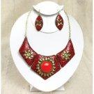 Queen Nefertiti Ruby Sun Necklace Set