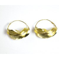 Large Fula Gold Twist Earrings - 1½""