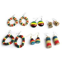 Set Of 6 Rasta Earrings