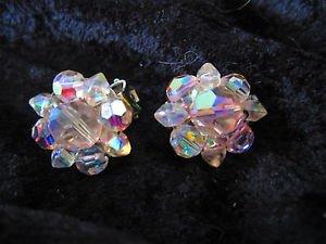 Vintage Aurora Borealis crystal clip on silver tone earrings