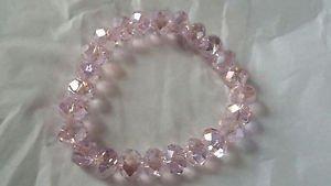 Light Pink Glass crystal bead stretch bracelet lose stone