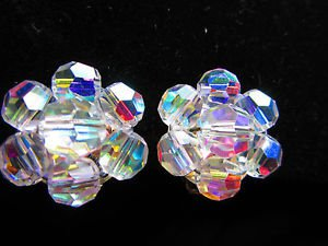 Earrings vintage Aurora borealis cluster button earrings clilp on