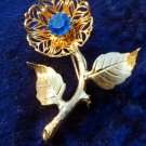 Vintage pin brooch flower sapphire rhinestone Sept birthstone gold tone leaf
