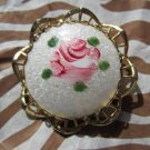 gold tone painted pink rose on glass vintage pin brooch