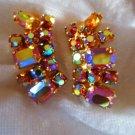 Vintage gold tone Aurora borealis rhinestone earrings gold tone multi shine