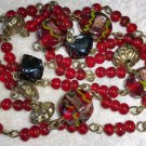 Vintage Red Art glass necklace vintage painted gold tone