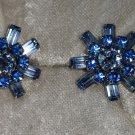 vintage silver tone light & dark blue rhinestones flower baguettes silver tone