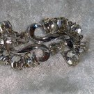 Vintage silver tone brooch pin clear rhinestones S shaped feather leaf