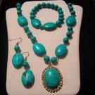 Genuine Turquoise necklace bracelet White Australian Crystal 3-Pcs