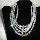 Vintage 4 strands Aurora Borealis clear crystal necklace CHOKER