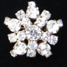 vintage pin brooch Gold tone star clear rhinestones twinkle and shine