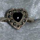Black crystal Vintage Heart black onyx Marcasite sterling silver ring size 6