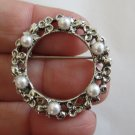 Wreath faux pearls three leaf clover simple timeless pin brooch vintage