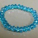 Aquamarine glass crystal stretch bracelet shiney