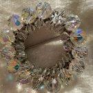 Vintage pin brooch wreath Austria crystal stones different aurora borealis nice