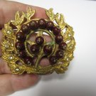 Vintage pin brooch laural leaf gold tone with brownish beads very different