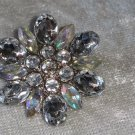 Clear plastic rhinestone silver tone scatter pin brooch gold tone vintage