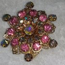 Vintage pin brooch pink Aurora Borelis  rhinestones wreath different stunning