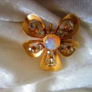 Vintage brooch pin gold tone rhinestone stone flower pendent  Mod