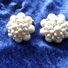 vintage earrings faux pearls rhinestones white cluster button crown gold tone