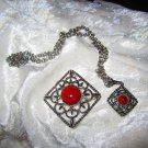 Vintage two Sarah Coventy item 1 pin Pendent 1 pendent deep red plastic center