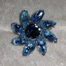 Vintage silver tone blue rhinestones flower pin brooch stunning