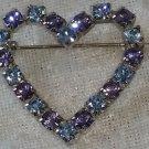 Vintage pin brooch heart powder blue & Purple  rhinestones darling Valentine