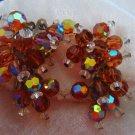 Vintage earrings cluster dangle AB root beer tan color hugs ears