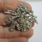 Vintage clear rhinestone pin brooch flower leaf dramatic silver tone