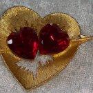 Vintage heart red rhinestones shaped heart signed by JJ Designer