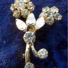 Vintage flower leaf gold tone petite flower brooch pin clear rhinestones cute