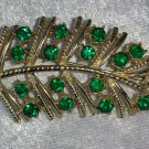 Feather leaf Green Rhinestone vintage pin brooch st patricks day Timeless