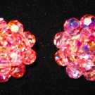 Vintage pink cluster Austria glass leaded crystal earrings clip on silver tone