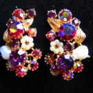 Vintage earrings Signed Claudette RARE crystals Opulent & aged to perfection