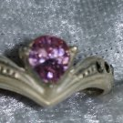 Vintage 9.25 pink ice Marcasite Sterling silver ring size 6.5