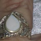 Vintage white stone ring sterling silver size 6.5 leafs Downton Abbey