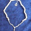 Crown Trifari faux pearl rhinestone drop necklace wedding prom with tag