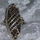 Vintage long 9.25  Marcasite sterling silver ring size 4 3/4  Downton Abbey