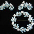 vintage Demi Parure flower brooch earrings set powder blue clear rhinestones