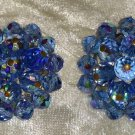 Vintage earrings blue glass crystal beads cluster button clipon  103