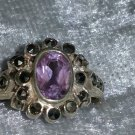 Vintage purple flower Marcasite sterling silver ring size 6.5 Downton Abbey