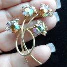 Vintage pin brooch aurora borealis pinks flower bunch gold tone opulent