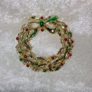 Christmas wreath vintage pin brooch gold tone painted berries