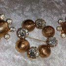 Vintage pin brooch earring set Signed Kramer gold tone textured Rhinestones
