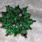 Vintage pin brooch emerald green glass crystals capped beads Downton Abbey