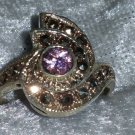 Vintage 9.25 Pink ice Marcasite Sterling silver ring  Downton Abbey size 7