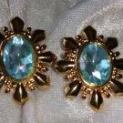 Vintage earrings gold tone robins egg blue starburst rhinestone earrings Avon