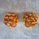 vintage earrings salmon color art plastic leafs gold tone