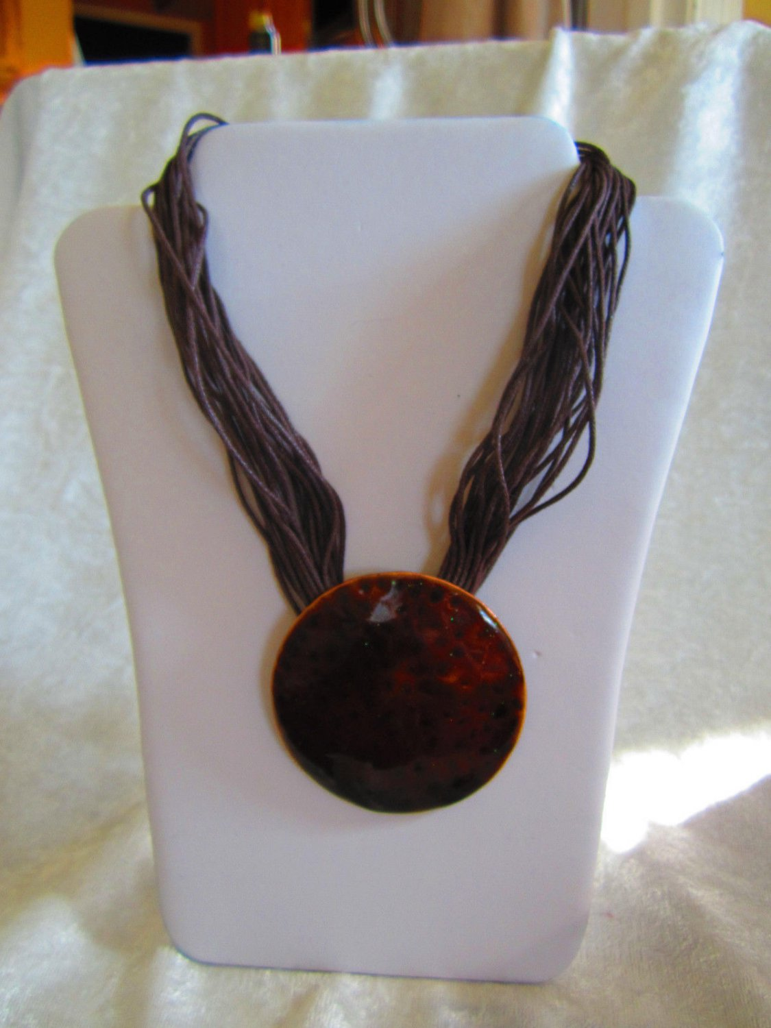 Vintage copper string enamel glitter necklace round different leopard look