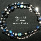 """Vintage double s1990's EsMor signed crystal necklace 22""""  Downton Abbey"""